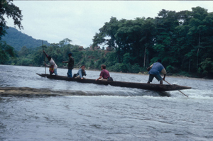 Canoe in PNG going up river